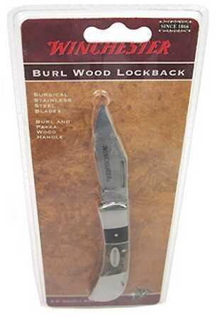 "Winchester Knives Burl Wood Knives 2.5"" Double Bolster Lockback 22-41782"