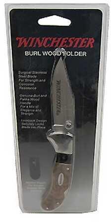 Winchester Knives Burl Wood Knives Sheath Folder 22-41785