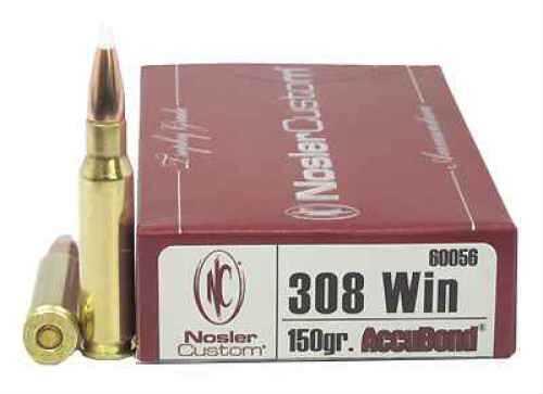 Nosler 308 Winchester, Trophy Ammunition 150gr AccuBond (Per 20) 60056