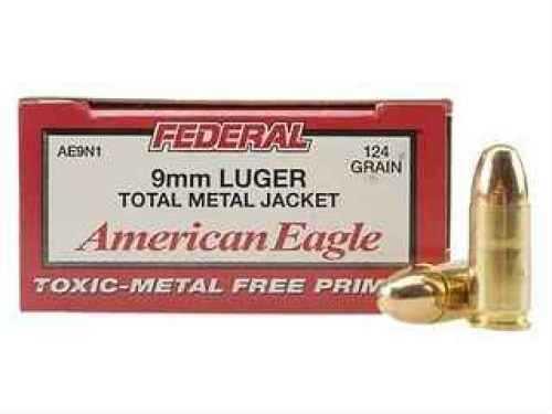 Federal Cartridge Federal 9mm Luger 124 Grain Total Metal Jacket (Per 50) AE9N1
