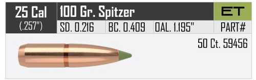 Nosler 25 Caliber 100gr E-Tip (Per 50) 59456