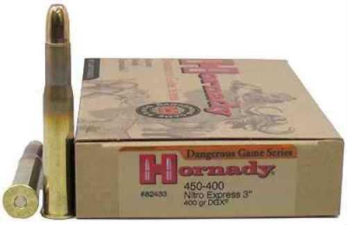 """Hornady 450/400 Nitro Express 3"""" Ammunition by 400gr DGX Per 20 82433"""