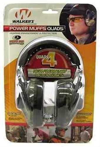 Walker's Game Ear / GSM Outdoors Walker Game Ear Power Muffs Quads w/AFT, Electronic, Mossy Oak Break Up Md: PMQCMO