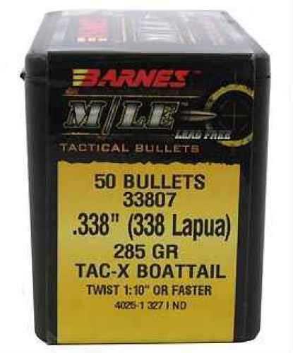 "Barnes Bullets 338 Lapua .338"" 285gr TACX Boat Tail (Per 50) 33807"
