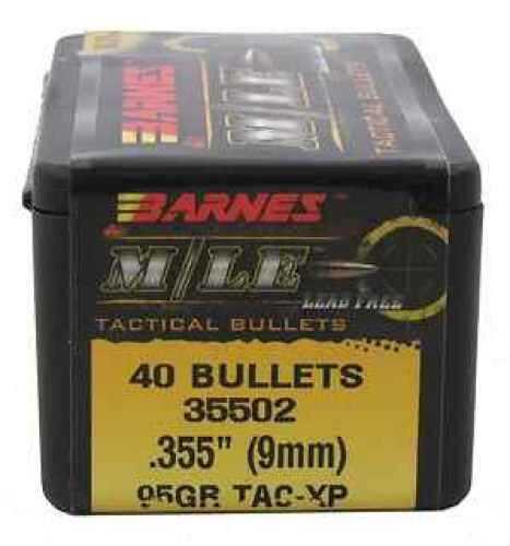 """Barnes Bullets 9mm .355"""" 95gr TAC-XP Flat Base (Per 40 35502"""