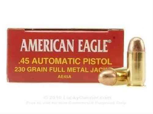 Federal Cartridge 45 Automatic 45 Auto, 230gr, Full Metal Jacket, (Per 50) AE45A