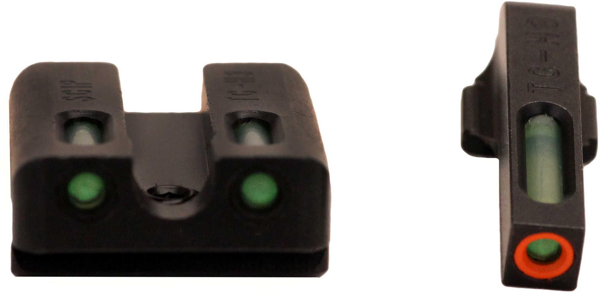 Truglo Brite-Site TFX Pro Sight Fits Sig #8 Front/#8 Rear Tritium/Fiber-Optic Day/Night Sight 24/7 Brightness Orange Rin
