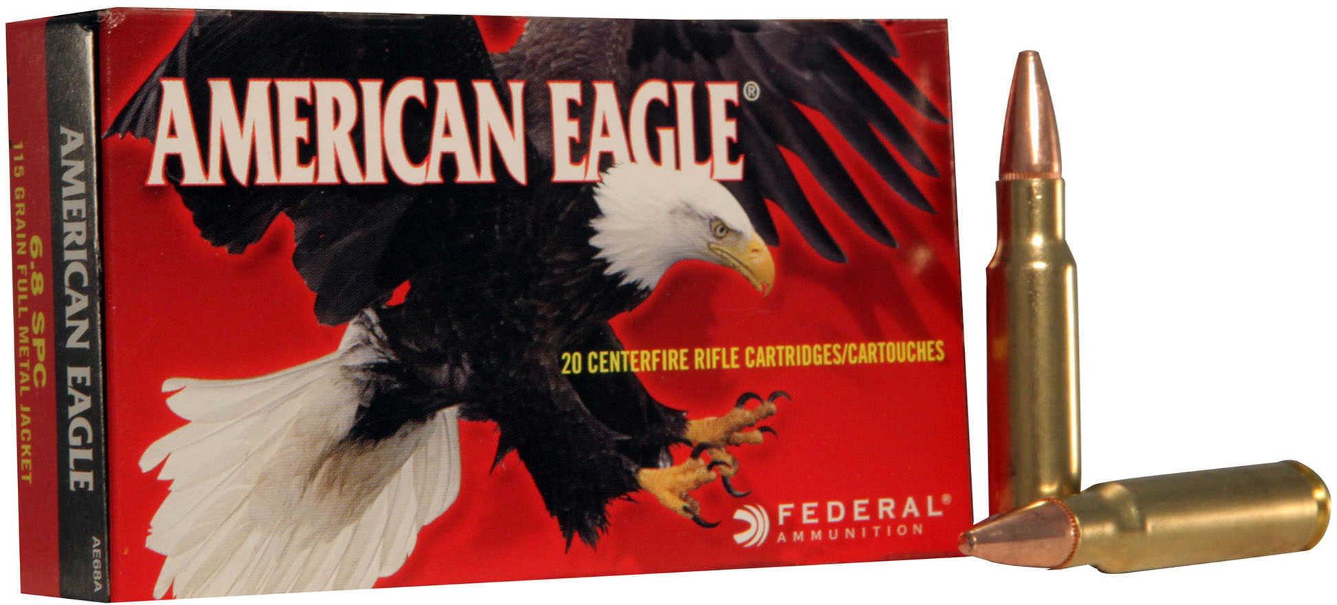 Federal American Eagle 6.8SPC 115 Grain Full Metal Jacket 20 Round Box AE68A