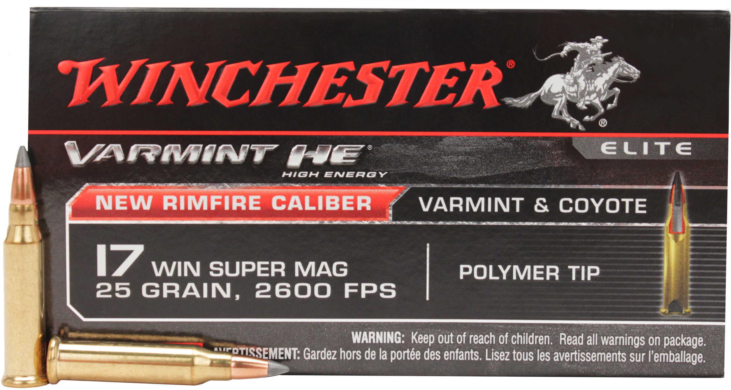 Winchester Ammunition Varmint HE 17WSM 25 Grain V-Max 50 Round Box S17W25
