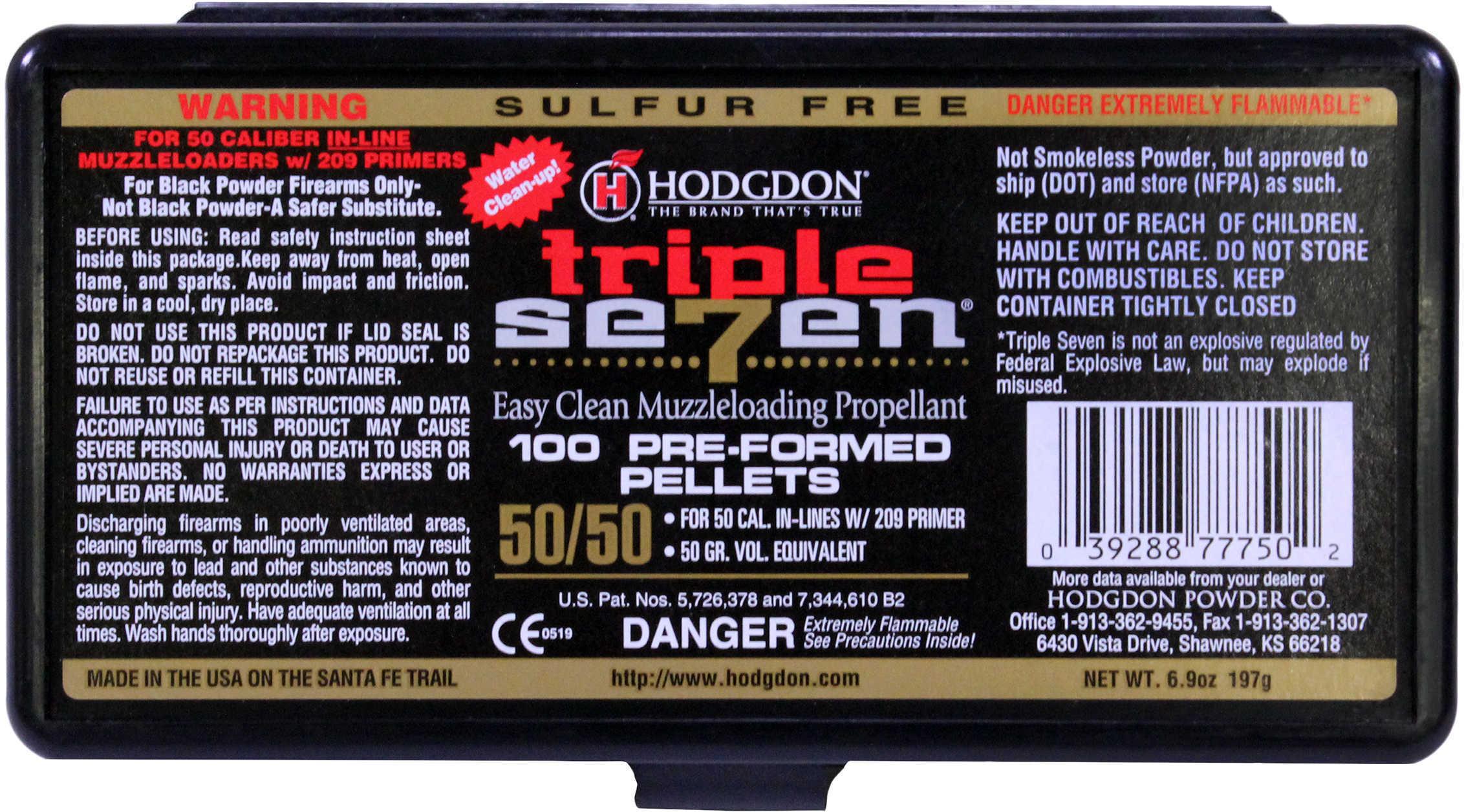 Hodgdon Triple 7 Pellets 50 Caliber 50 Grains 100-Pack