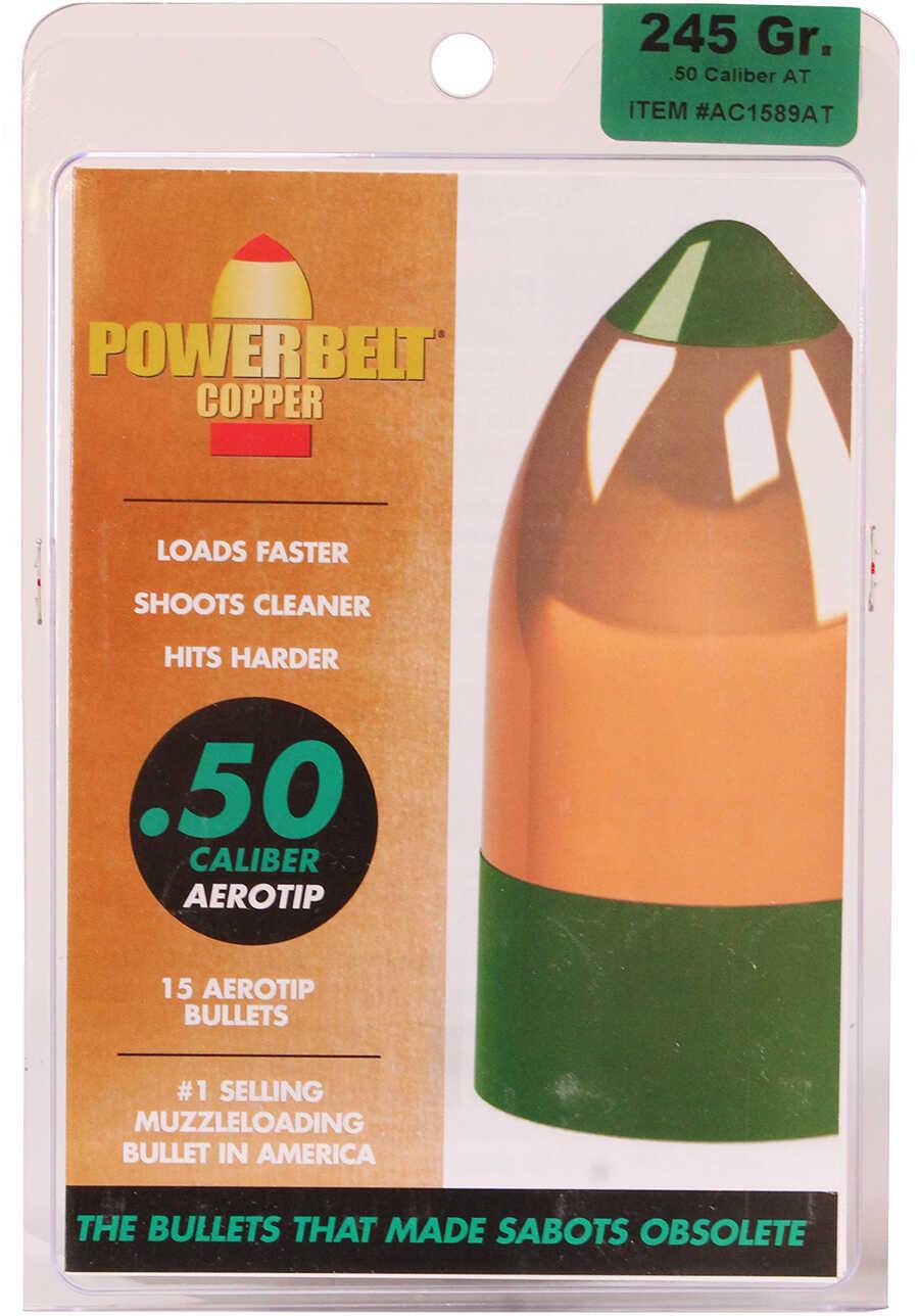 Powerbelt Bullets Copper AeroTip 50 Caliber Bullets (Per 15) 245 Grains AC1589AT