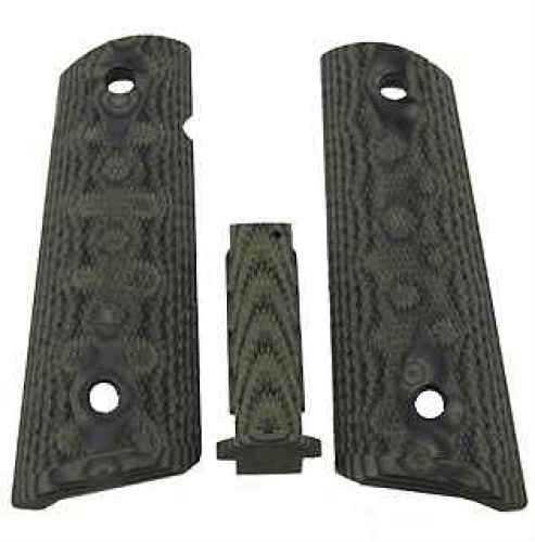 Hogue Government G10 Mag Grip Kit, Checkered Flat Mainspring Olive Drab Green Camo 01258