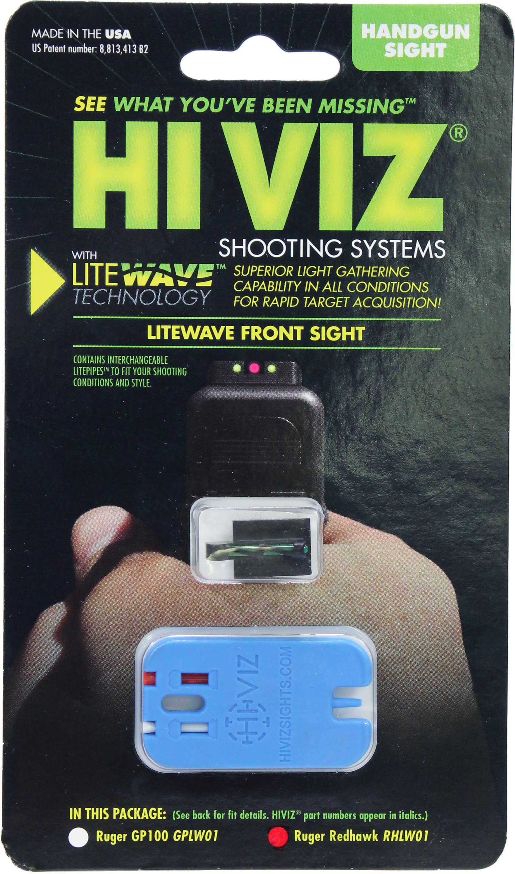 HiViz Sight Systems Hi-viz Litewave Sight Ruger Redhawk Red & Green Rhlw01