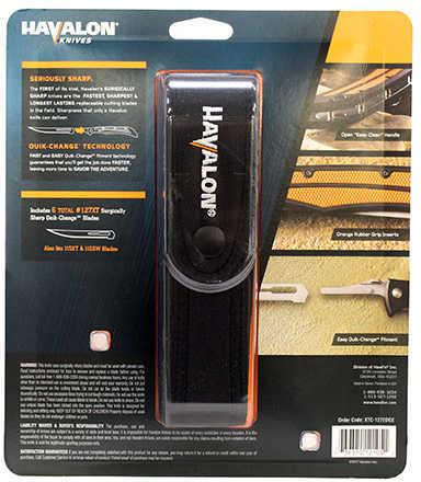 "HAVALON KNIVES Havalon Baracuta Edge Folding Fillet Knife 5"" Blades w/5 127XT Blades Black/Org 61187"