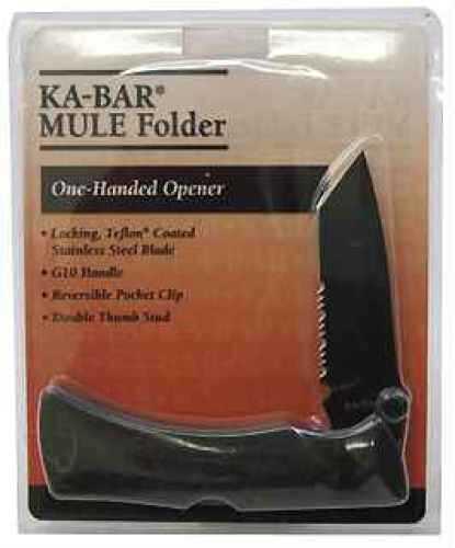 Ka-Bar Knive G10 Mule Folder Black, Serrated Edge, Tanto Blade, Clam Pack Md: 4-3065CP-7