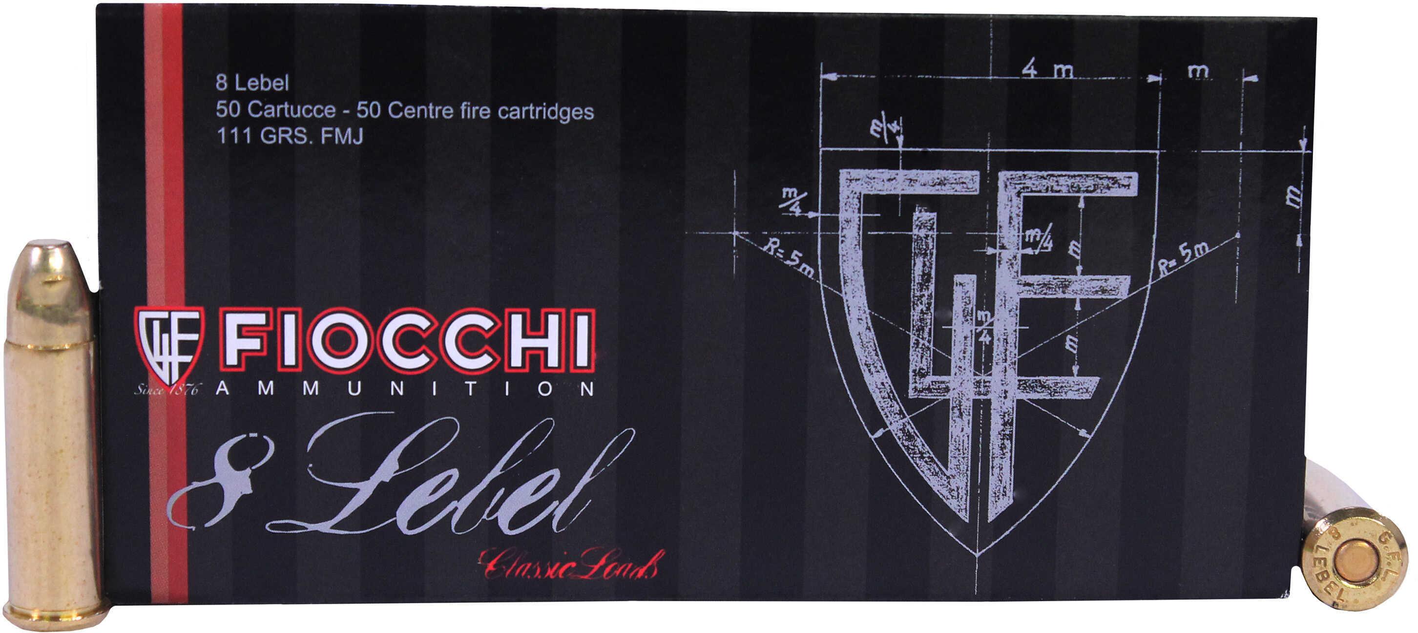 Fiocchi 8mm Lebel 111 Grain Full Metal Jacket Ammunition, 50 Rounds Per Box Md: 8L