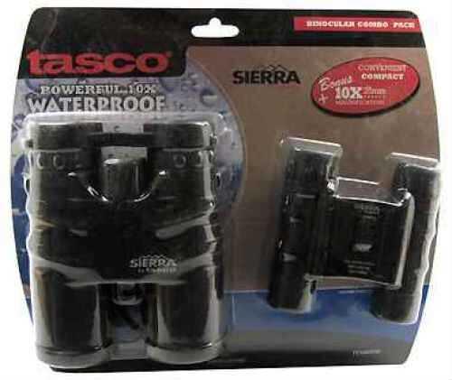 Tasco Sierra Black Waterproof, Fogproof Binoculars 10x42mm, and 10x25mm Compact TS104225D