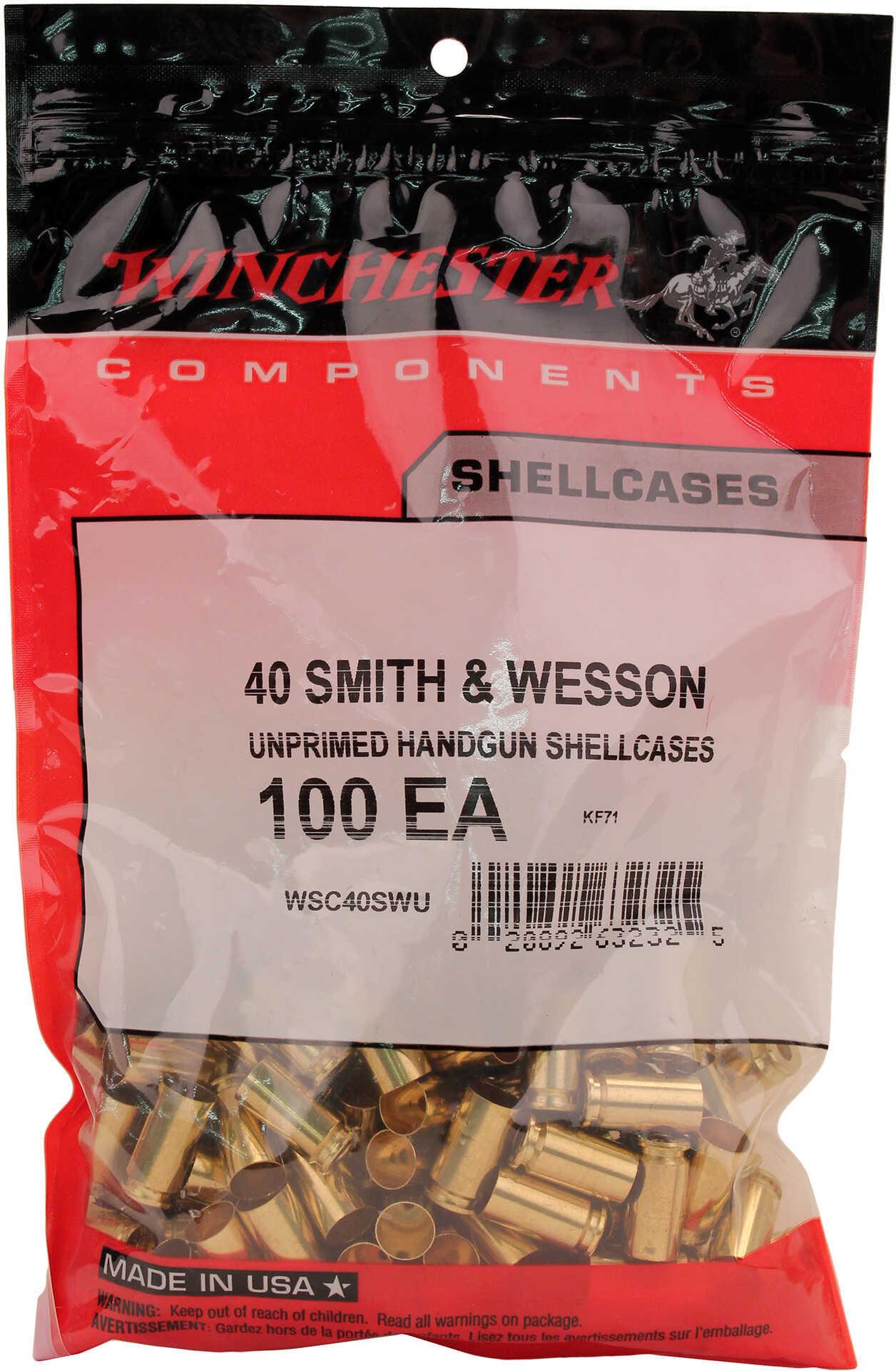 Winchester New Unprimed Brass 40 S&W Bag of 100 Pcs