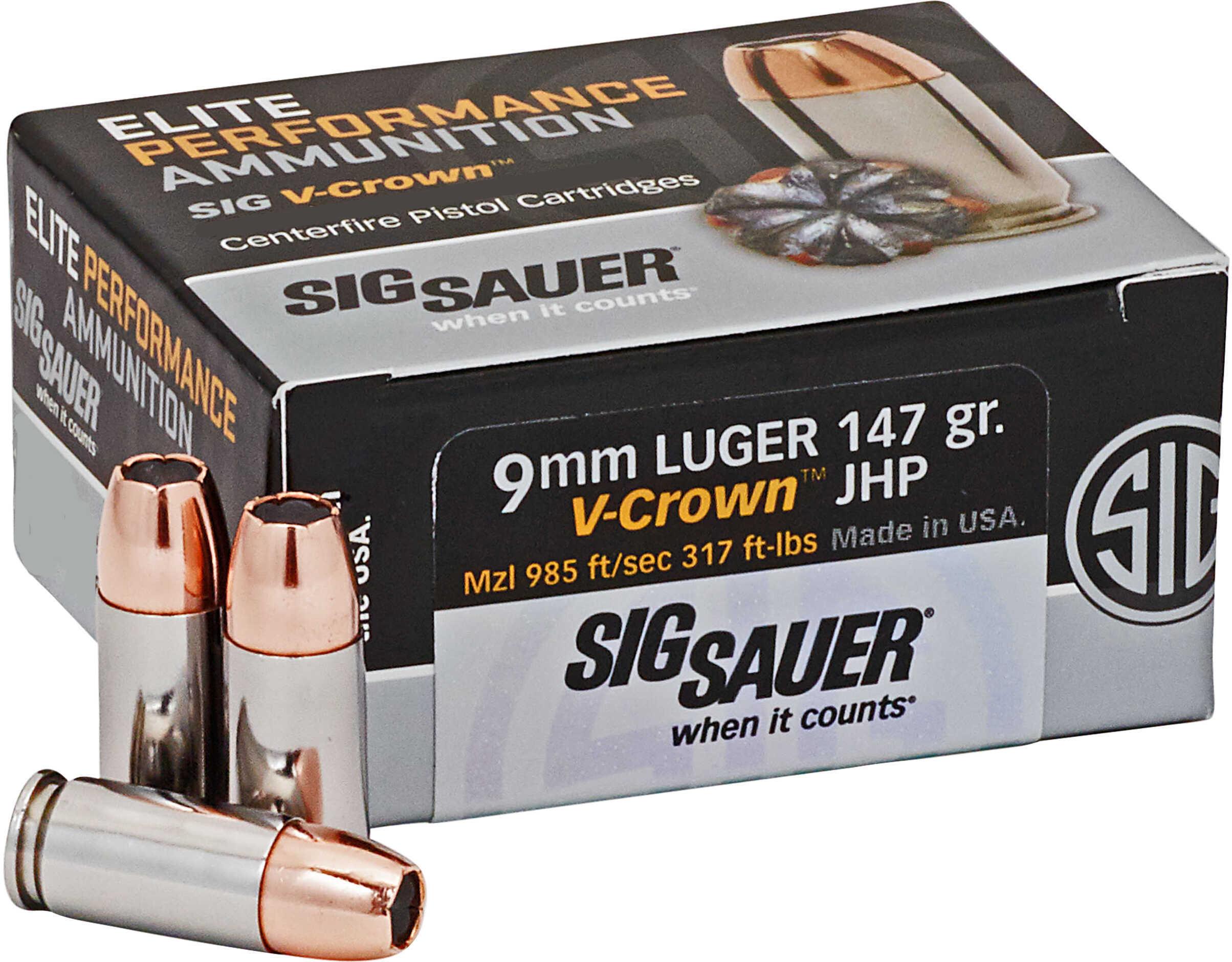Sig Sauer Elite V-Crown Ammunition 9mm Luger, 147 Grains, Jacketed Hollow Point, Per 50