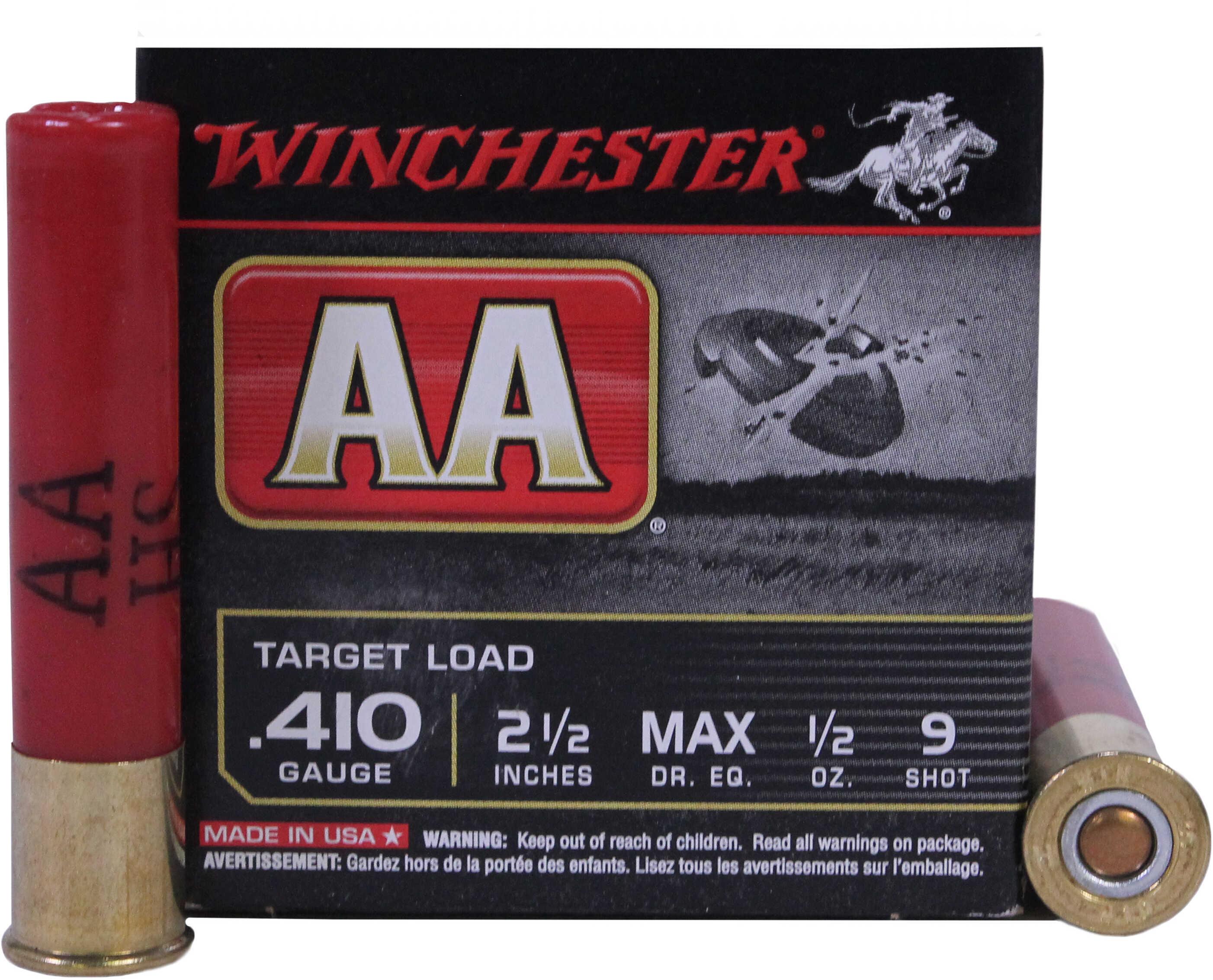 "Winchester .410 Gauge .410 Ga, 2 1/2"", 1/2oz, 9 Shot (Per 25) AA419"