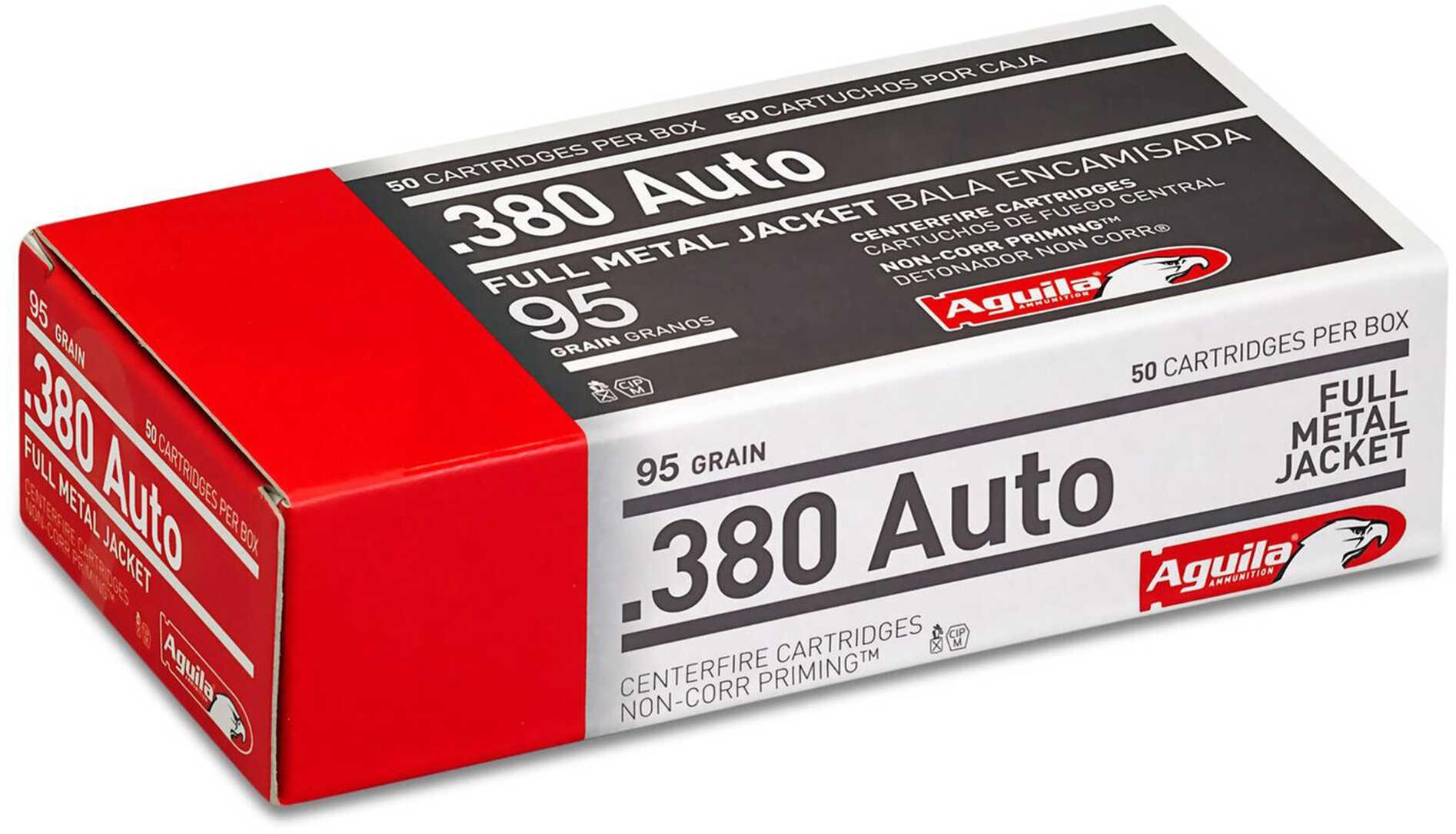 Aguila Ammunition Pistol 380 ACP 95 Grain Full Metal Jacket 50 Round Box 1E802110