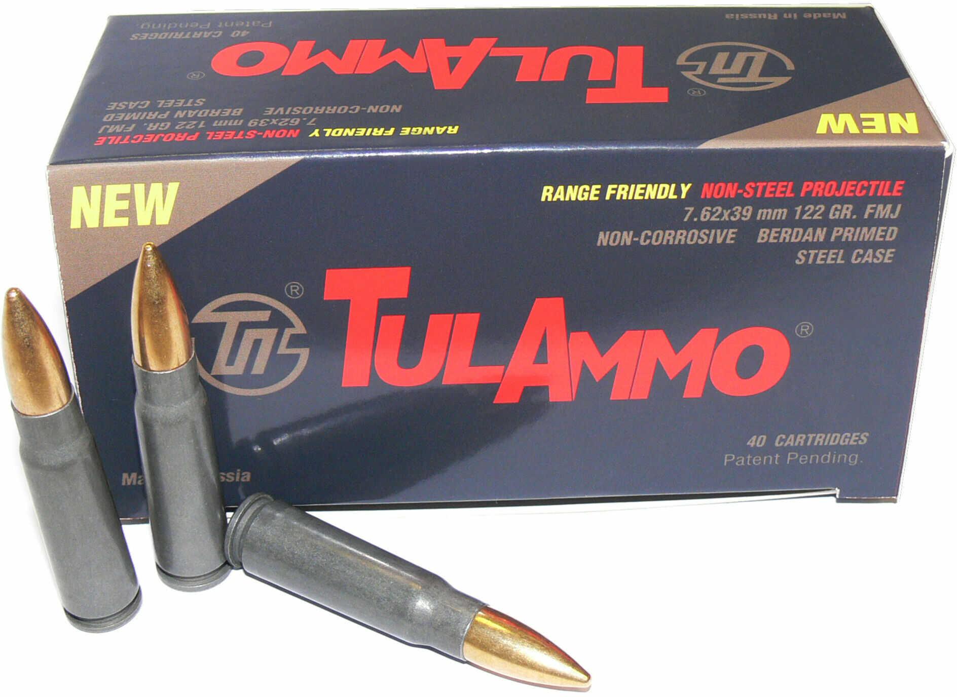 Tulammo Centerfire Rifle 7.62x39mm 122 Grain Full Metal Jacket 40 Box UL076215