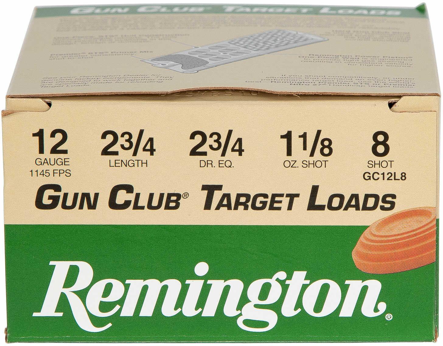 """Remington Gun Club 12 Gauge 2 3/4"""" 1 1/8Oz #8 25 Rounds Ammunition GC12L8"""