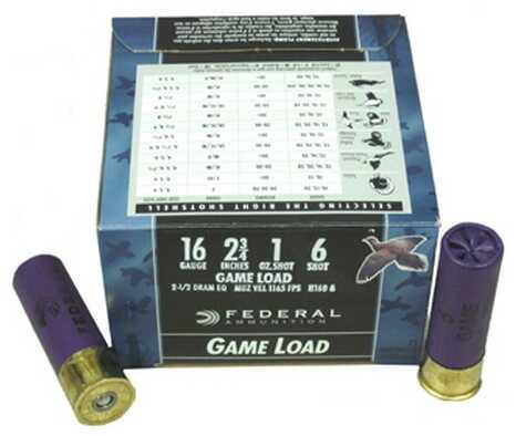 "Federal Cartridge 16 Gauge Shot shells 16 Gauge Game Load 2 3/4"" 2 1/2 dram 1oz 6 Shot (Per 25) H1606"