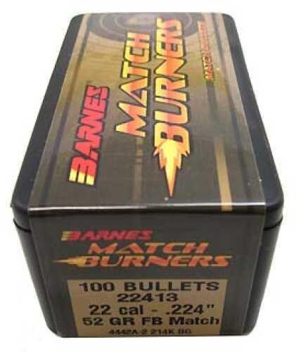 "Barnes Bullets Match Burners Bullets 22 Cal .224"" 52 Gr Flat Base Match (Per 100) 22413"