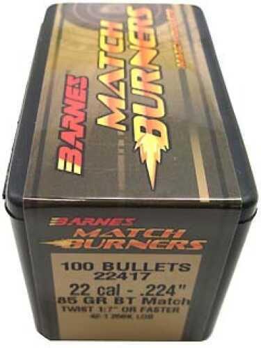"Barnes Bullets Match Burners Bullets 22 Cal .224"" 85 Gr Boat Tail Match (Per 100) 22417"