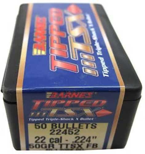 "Barnes Bullets Tipped Triple-Shock X Bullets 22 Cal .224"" 50Gr Flat Base (Per 50) 22452"