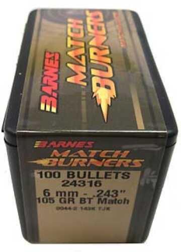 "Barnes Bullets Match Burners Bullets 6mm .243"" 105 Gr Boat Tail Match (Per 100) 24316"