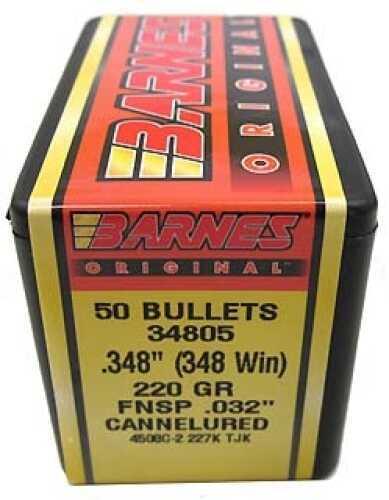 "Barnes Bullets Barnes Original .032"" Cannelured Bullets 348 Winchester .348"" 220Gr Flat Nose Soft Point (Per 50) 34805"