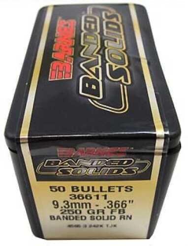 """Barnes Bullets Banded Solid Bullets 9.3mm .366"""" 250Gr Round Nose (Per 50) 36611"""