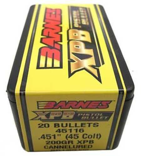 "Barnes Bullets XPB Pistol Bullets 45 Colt .451"" 200Gr Flat Base (Per 20) 45116"