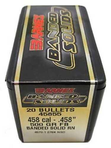 """Barnes Bullets Banded Solid Bullets 458 Cal .458"""" 500Gr Round Nose (Per 20) 45855"""
