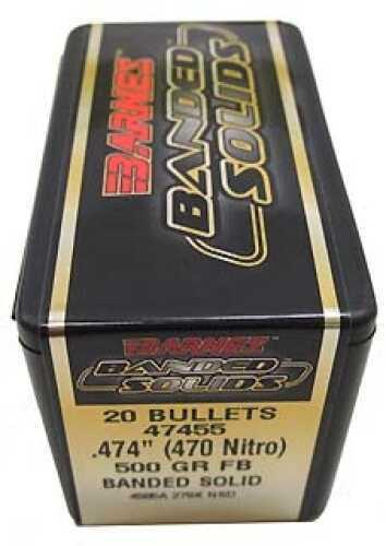 """Barnes Bullets Banded Solid Bullets 470 Nitro .474"""" 500Gr Flat Base (Per 20) 47455"""