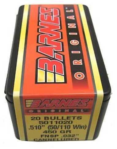 "Barnes Bullets Barnes Original .032"" Cannelured Bullets 50/110 Winchester .510"" 450Gr Flat Nose Soft Point (Per 20) 5011020"