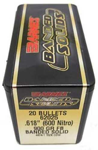 """Barnes Bullets Banded Solid Bullets 600 Nitro .618"""" 900Gr Flat Base (Per 20) 62025"""