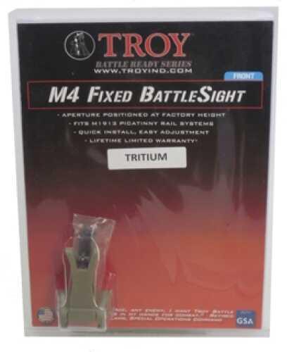 Troy Industries M4 Front Fixed BattleSight Flat Dark Earth, Tritium SSIG-FBS-FMFT-03
