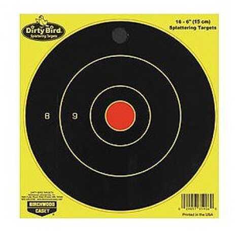 "Birchwood Casey Dirty Bird Chartreuse Bull's Eye Target 6"", Per 16 35906"