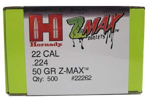 "Hornady Z-MAX Reloading Bullets .22 Caliber (.224"") 50Gr (Per 500) 22262"