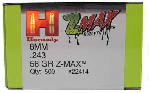 "Hornady Z-MAX Reloading Bullets 6mm .243"" 58Gr (Per 500) 22414"