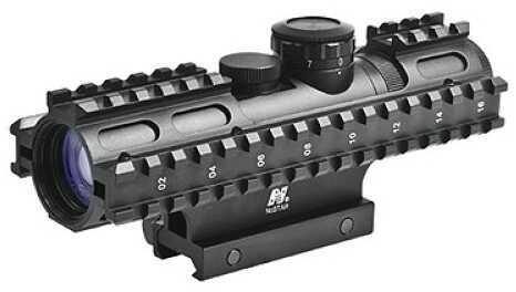 NcStar Tactical 3-Rail Sighting System 2-7x32/Blue Illuminated Rangefinder/Green/Weaver Mount SEC3RSR2732G