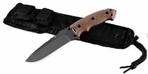"Hogue EXF01 5 1/2"" Fixed Drop Point Blade Black Kote G-10 G-Mascus Tan 35177"