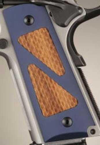 Hogue Colt & 1911 Government Grips Hybrid Aluminum Matte Blue Anodized Goncalo Alves Insert 45183