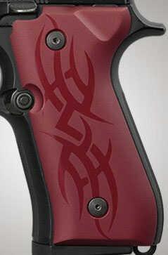 Hogue Beretta 92 Grips Tribal Aluminum Red Anodized 92112