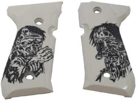 Hogue Beretta 92 Polymer Grip Panels Scrimshaw Ivory, Zombie 92034