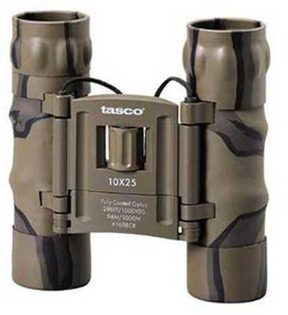 Tasco Essentials Binoculars 10x25mm, Brown, Camo Roof Prism Compact 168BCRD