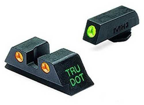 Mako Group Glock - Tru-Dot Sights 9mm/357 Sig/.40 S&W/.45 GAP, Green/Orange, Fixed Set ML10224 O